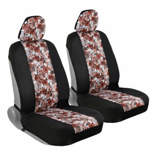 Car Seat Cover Set Dusty Rose Sideless 4 Pc Front Interior Set W Headrest Covers