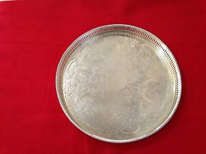 Vintage Original Sheffield Silver Plated On Copper Round Footed Tray Pre Owned