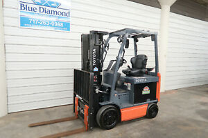 2015 Toyota 8fbcu25 5 000 Electric Forklift 48 Volt Battery 3 Stage 4 Way