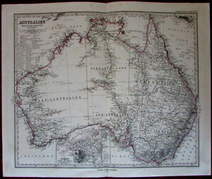Australia Sydney Victoria Queensland 1875 Fine Old Vintage Antique Map