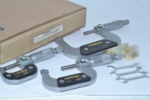 New Fowler 0 3 Outside Micrometer 3 Piece Set 0001