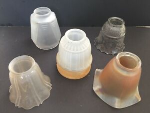 Art Deco Light Shades Lot Of 5 Antique Vintage Art Deco Ceiling Light Shades