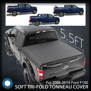 Tonneau Cover Tri Fold Fit 09 14 Ford F150 Pickup Truck Black 5 5ft Rear Bed