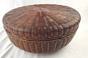 Antique Sewing Basket With Lid Brown Round Victorian Wicker