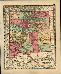 New Mexico 1890 Detailed Antique State Map Population 153 000 Utah Territory Wa
