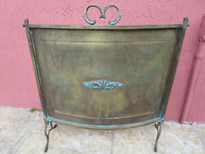 Antique Brass Fireplace Cover Screen