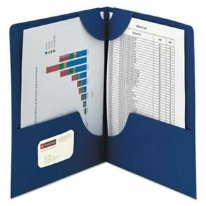 Case Of 4 Smead 87982 Blue Lockit Two pocket Folder Letter Size 50 box New