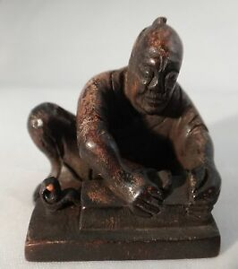 Antique Japanese Wood Figure Netsuke Early 19th Century Man Working 1 T