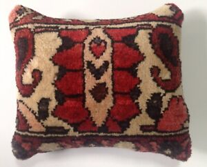 Antique 1930 S Persian Wool Garden Rug Pillow 12 X14