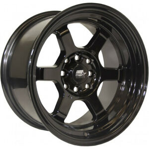 15x8 Black Mst Time Attack Wheels 4x100 4x4 5 0 Fits Ford Mustang 4 Lug Only