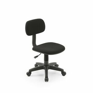 Armless Task Chair Classic Computer Desk Swivel Chair Office Dorm Kids Black