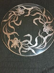 Vintage Plateau Vanity Tray Glass Embossed Silver Iris Floral Round 14