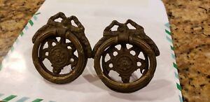 Antique Brass Rosette Dresser Knob Drawer Pull Set 2 Ribbon Bow Art Nouveau Lot