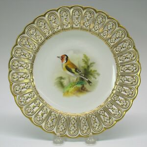 Antique Mintons Porcelain Reticulated Cabinet Bird Plate The Goldfinch 9 1 8