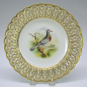 Antique Mintons Porcelain Reticulated Cabinet Bird Plate The Stock Dove 9 1 8