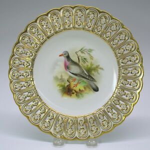 Antique Mintons Porcelain Reticulated Cabinet Bird Plate The Ring Dove 9 1 8