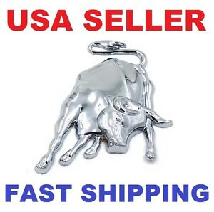 3d Silver Ox Lamborghini Bull Emblem Metal Car Badge Decal Logo Sticker Chrome