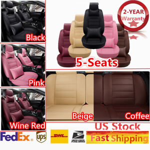 5 Seats Car Suv Seat Cover Front Rear Cushion Universal Pu Leather Pillows Kit