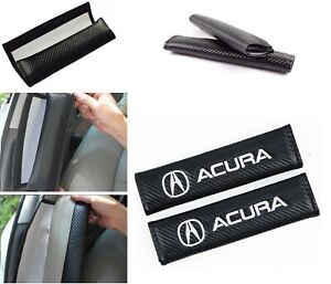 2pcs Carbon Fiber Look Embroidery Logo Seat Belt Cover Shoulder Pads For Acura