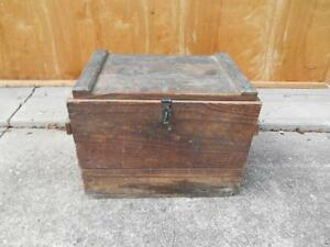 Antique Primitive Wood Tool Chest Toolbox Storage Toy Treasure Chest Table Old