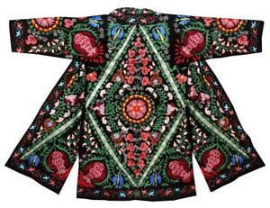 Gorgeous Uzbek Fully Silk Embroidered Robe Chapan From Bukhara A12773