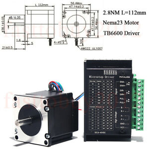 Stepper Motor Nema23 Driver Tb6600 Kits 4 wires 420oz in 2 8nm For 3d Printer
