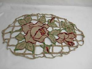 Antique Linen Doilies Doily Red Green Yellow Rose Floral Motif Old Vtg Textiles
