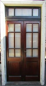 Antique Double French Patio Door With Transom And Original Casing