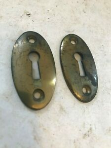 2 Old Oval Antique Cast Brass Keyhole Door Knob Covers Escutcheon Plates 76840