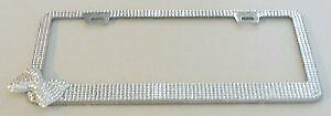 Silver Diamond Bling Corner Bow License Plate Frame