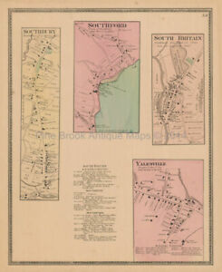 Southbury Southford Connecticut Antique Map Beers 1868 Original