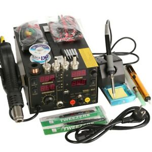 Saike 220v 909d Rework Soldering Station Hot Air Gun Dc Power Supply 3 In
