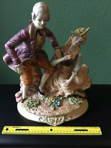 15 Large Vintage Rare Capodimonte Figurine Couple Signed Man And Woman