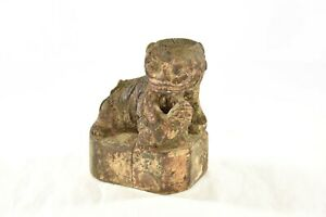 Antique Chinese Wooden Carved Statue Of Fu Foo Dog Incense Holder 19th C