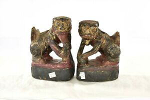 Pair Antique Chinese Red Gilt Wooden Carved Statue Fu Foo Dog Lion 19th C