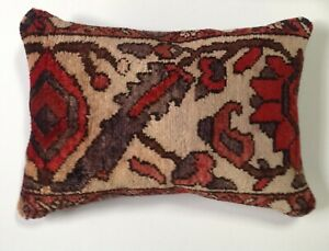 Antique 1930 S Persian Wool Garden Rug Pillow 14 X20