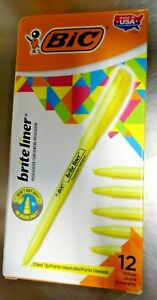 Case Of Bic Brite Liner Highlighter Chisel Tip Yellow 12 box 18 case New
