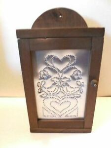 Wood Box Small Wood Cupboard W Pierced Tin Insert Cute