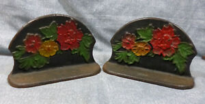 Vintage 1930 S 40 S Cast Iron Bookends With Flowers