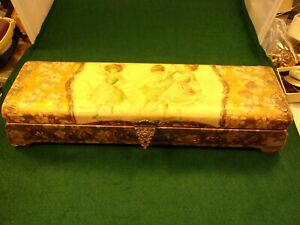 1 Of 2 Beautiful Vtg Antique Victorian Era Celluloid Glove Or Vanity Gold Box
