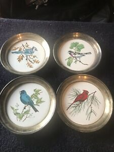 Vintage Sheridan Silver Plated Bird Coasters Lot Of 4 Blue Jays Cardinal