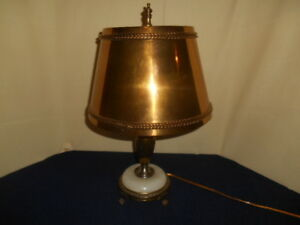Vtg Bouillotte Candelabra 3 Candle Table Lamp W Solid Brass Shade