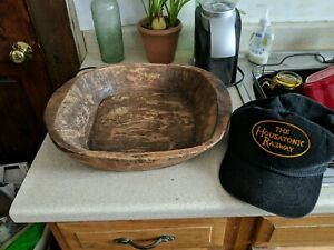Antique Very Old Primitive Hand Carved Wooden Bowl Dough 14 X 12 X 3