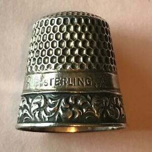 Vintage Sterling Silver Intricate Ornate Border Sewing Thimble Size 8 Nice