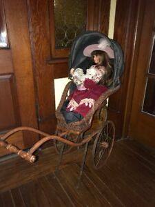 Antique Victorian Baby Doll Carriage Stroller Wicker Nice