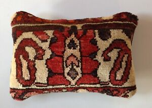 Antique 1930 S Persian Wool Garden Rug Pillow 10 X16