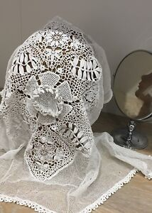 Antique Lace Veil Silk Short 1910s 1920s Crochet French Bridal Wedding Vintage