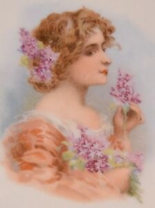 Victorian Hand Painted Plate Carlsbad Austria Portrait Plate Lilac Flower Lady