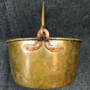 Antique Brass And Copper Cauldron Kitchen Pot With Handle 9 5