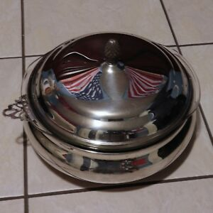 Vintage Sheffield Silver Company Covered Casserole With Pylrex Glass Liner